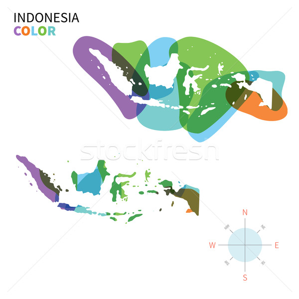 Abstract vector color map of Indonesia with transparent paint effect. Stock photo © tkacchuk