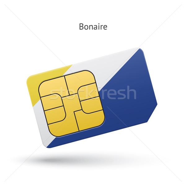 Bonaire mobile phone sim card with flag. Stock photo © tkacchuk
