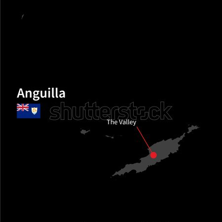 Detailed map of Cayman Islands and capital city George Town with flag on black background Stock photo © tkacchuk