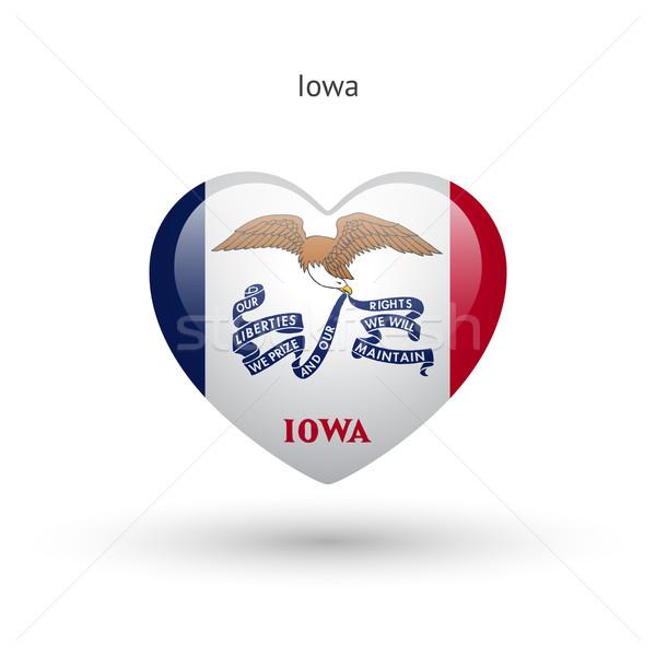 любви Айова символ сердце флаг икона Сток-фото © tkacchuk