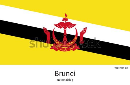 National flag of Brunei with correct proportions, element, colors Stock photo © tkacchuk