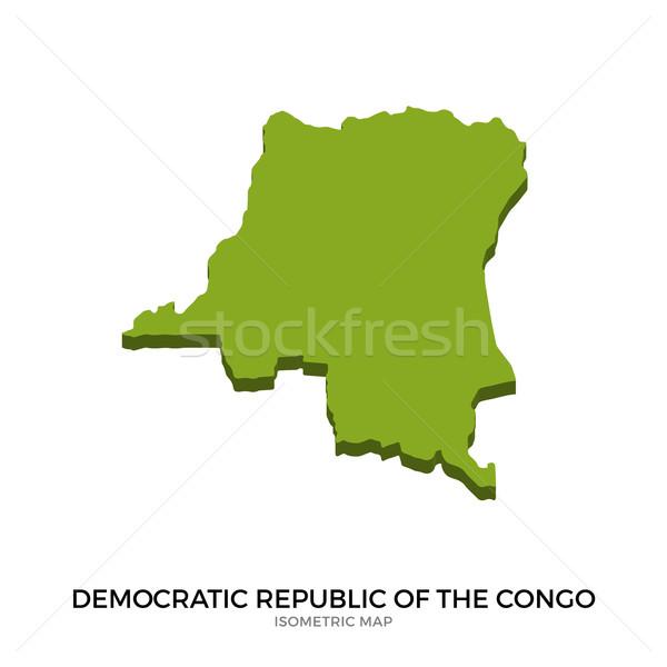 Izometrik harita demokratik cumhuriyet Kongo ayrıntılı Stok fotoğraf © tkacchuk