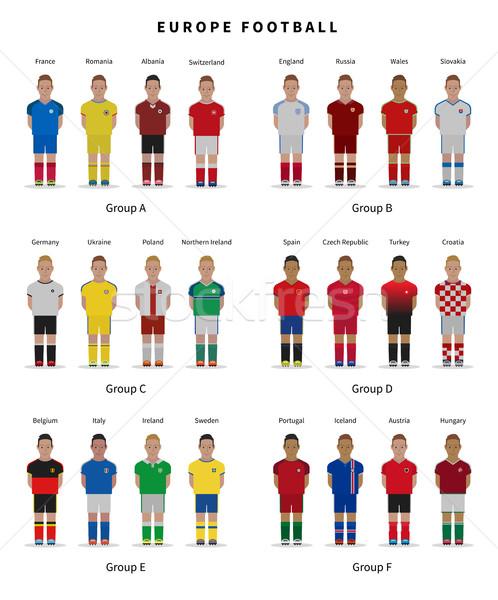 Voetbal kampioenschap team spelers uniform voetbal Stockfoto © tkacchuk