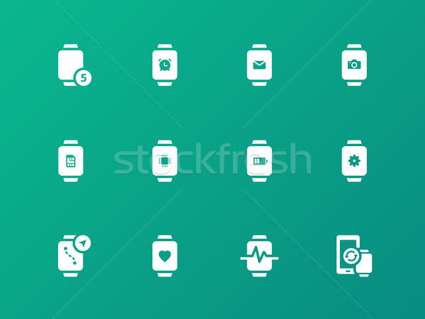 Innovation watch with mail, camera and notifications icons on green background. Stock photo © tkacchuk