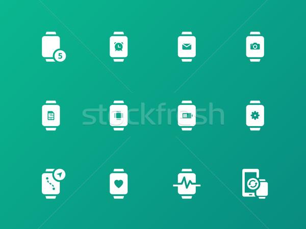 Inovação ver e-mail câmera ícones verde Foto stock © tkacchuk