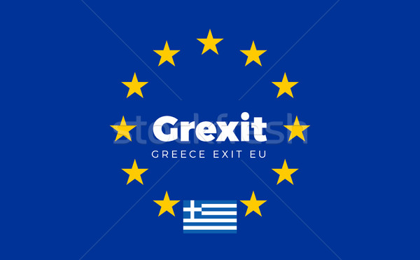Flag of Greece on European Union. Grexit - Greece Exit EU Europe Stock photo © tkacchuk