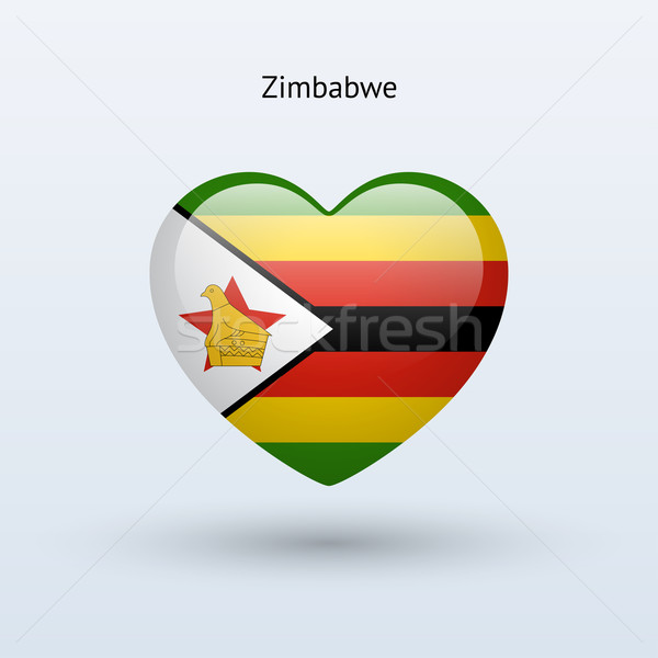 Love Zimbabwe symbol. Heart flag icon. Stock photo © tkacchuk