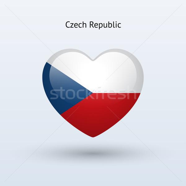 Miłości Czechy symbol serca banderą ikona Zdjęcia stock © tkacchuk