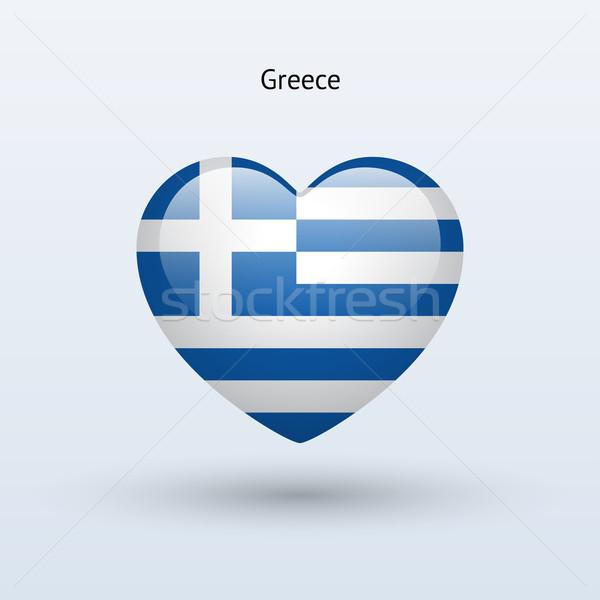 Love Greece symbol. Heart flag icon. Stock photo © tkacchuk