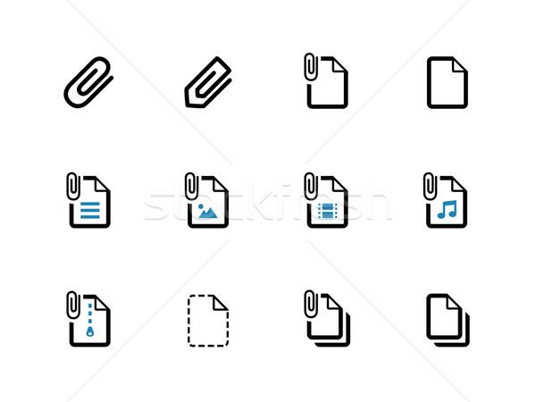 Stock fotó: Akta · gemkapocs · ikonok · fehér · papír · felirat