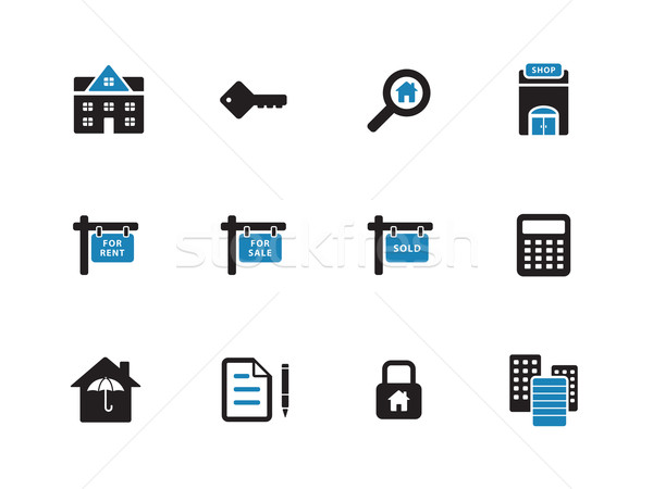 Stock photo: Real Estate duotone icons on white background.