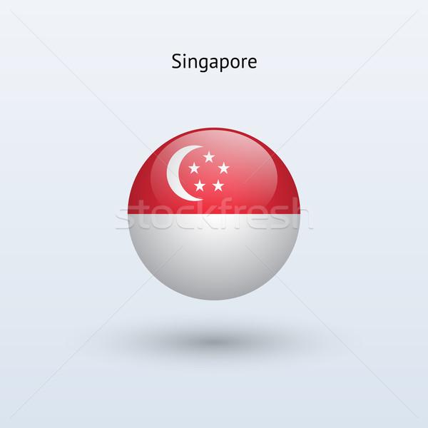 Stock photo: Singapore round flag. Vector illustration.