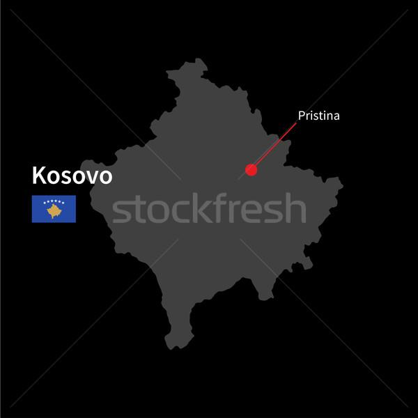 Detalhado mapa Kosovo cidade bandeira preto Foto stock © tkacchuk