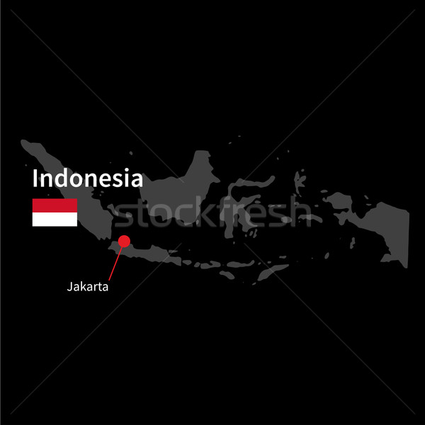 Stock photo: Detailed map of Indonesia and capital city Jakarta with flag on black background