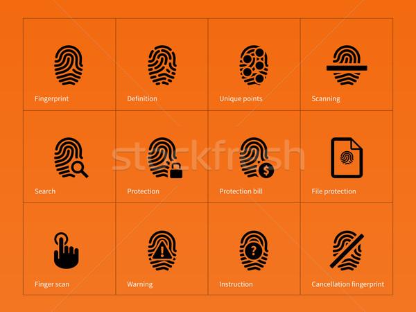 Security finger print icons on orange background. Stock photo © tkacchuk