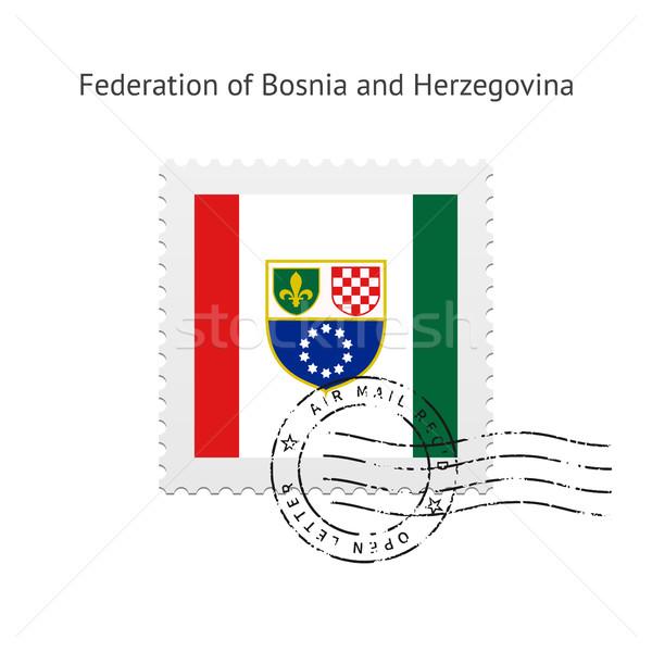 Bosznia és Hercegovina zászló postabélyeg fehér felirat levél Stock fotó © tkacchuk