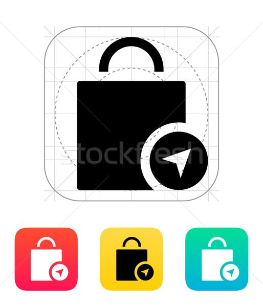 Shopping bag location icon. Stock photo © tkacchuk