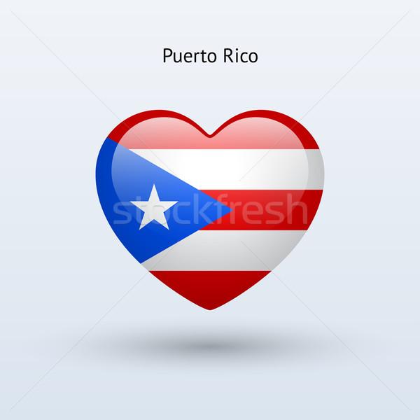 Liefde Puerto Rico symbool hart vlag icon Stockfoto © tkacchuk