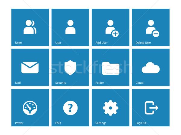 User Account icons on blue background. Stock photo © tkacchuk
