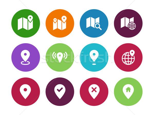 Pokaż kółko ikona GPS nawigacja biały Zdjęcia stock © tkacchuk