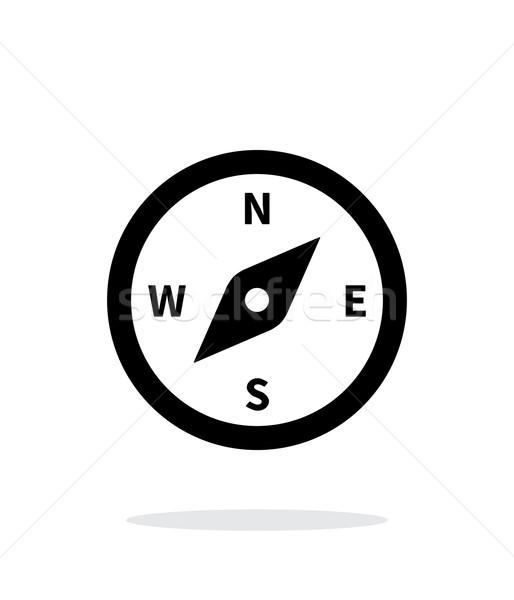 Kompas ikona biały świecie Pokaż podpisania Zdjęcia stock © tkacchuk