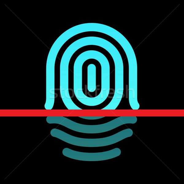 Fingerprint identification system - whorl type icon. Stock photo © tkacchuk