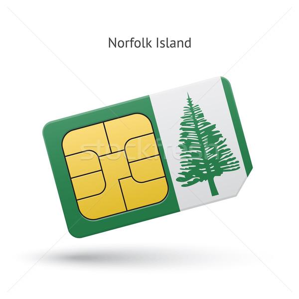 Norfolk Island mobile phone sim card with flag. Stock photo © tkacchuk