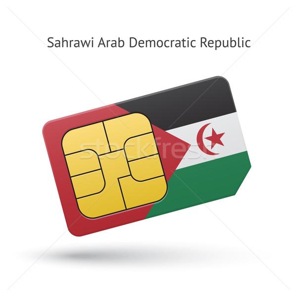 арабских демократический республика телефон карт флаг Сток-фото © tkacchuk