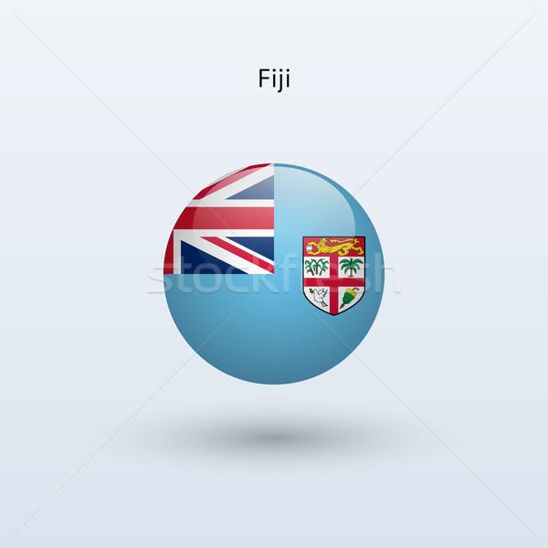 Fidzsi-szigetek zászló szürke felirat háló utazás Stock fotó © tkacchuk