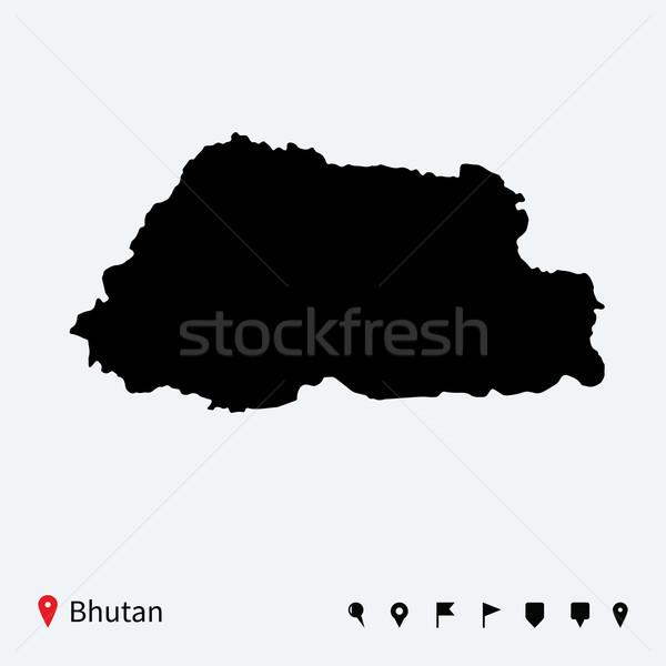 Hoog gedetailleerd vector kaart Bhutan navigatie Stockfoto © tkacchuk