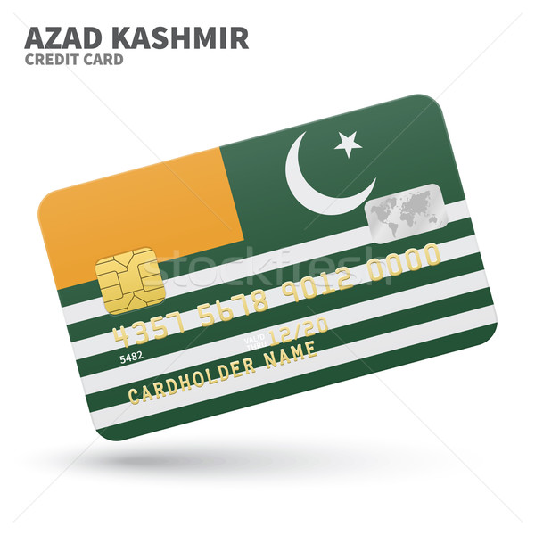 Credit card with Azad Kashmir flag background for bank, presentations and business. Isolated on whit Stock photo © tkacchuk