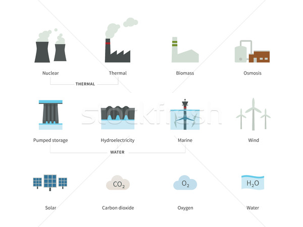 Power plants and Energy stations color icons on white background. Stock photo © tkacchuk