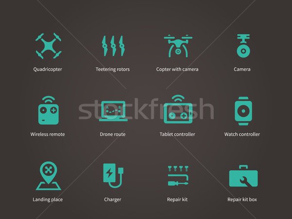 Delivery air drone icons set. Stock photo © tkacchuk