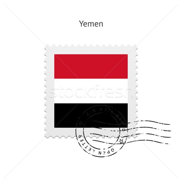 Йемен флаг почтовая марка белый знак письме Сток-фото © tkacchuk