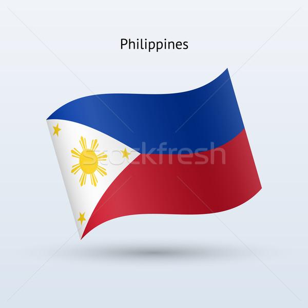 Filipinler bayrak form gri imzalamak Stok fotoğraf © tkacchuk