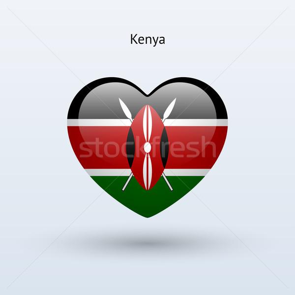 Szeretet Kenya szimbólum szív zászló ikon Stock fotó © tkacchuk
