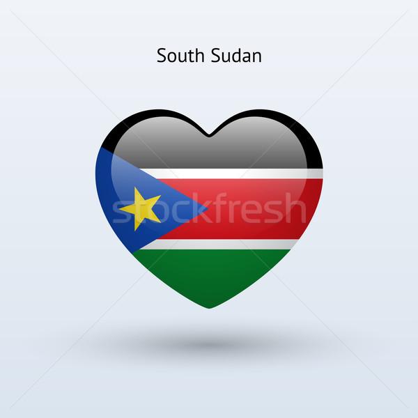 Liefde zuiden Soedan symbool hart vlag Stockfoto © tkacchuk