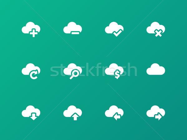 облаке иконки зеленый интернет ноутбука технологий Сток-фото © tkacchuk