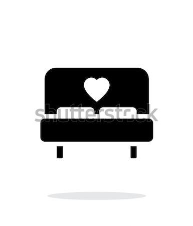 Stockfoto: Romantische · bed · icon · witte · hart · ziekenhuis
