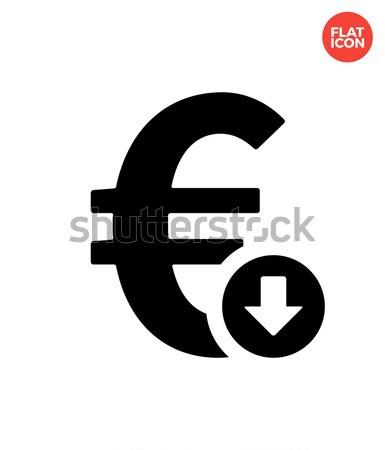 Euro exchange rate down icon on white background. Stock photo © tkacchuk