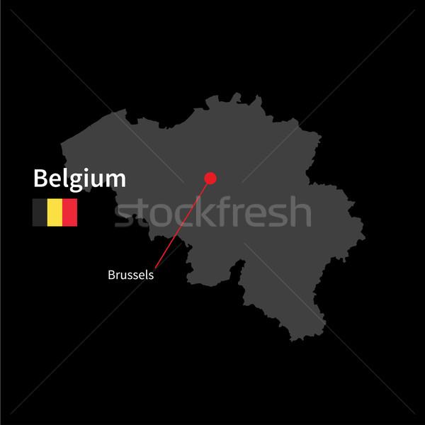 подробный карта Бельгия город Брюссель флаг Сток-фото © tkacchuk