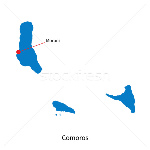 Detailed vector map of Comoros and capital city Moroni Stock photo © tkacchuk