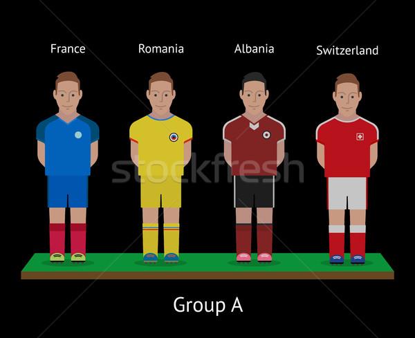 Piłka nożna gracze piłka nożna zespoły grupy tkaniny Zdjęcia stock © tkacchuk