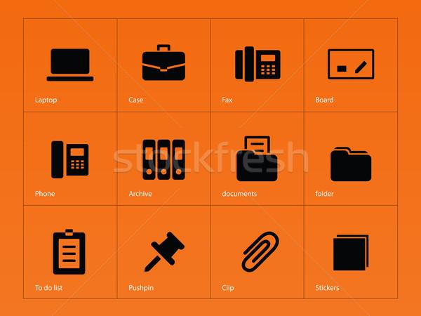Office icons on orange background. Stock photo © tkacchuk