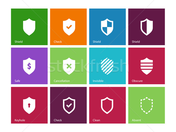 Shield icons on color background. Stock photo © tkacchuk