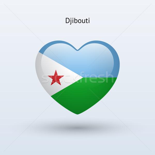 Miłości Dżibuti symbol serca banderą ikona Zdjęcia stock © tkacchuk