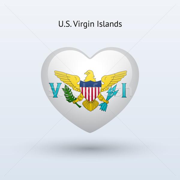 Amor Ilhas Virgens símbolo coração bandeira ícone Foto stock © tkacchuk