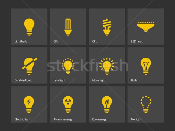 Ampoule lampe icônes internet web cerveau Photo stock © tkacchuk