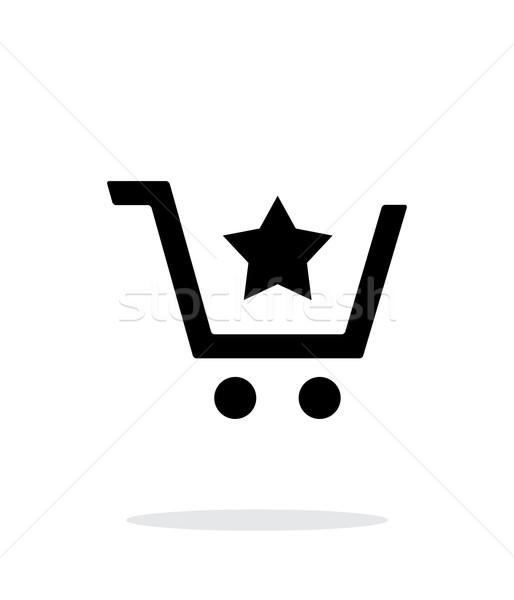 Shopping cart with favorites item simple icon on white background. Stock photo © tkacchuk