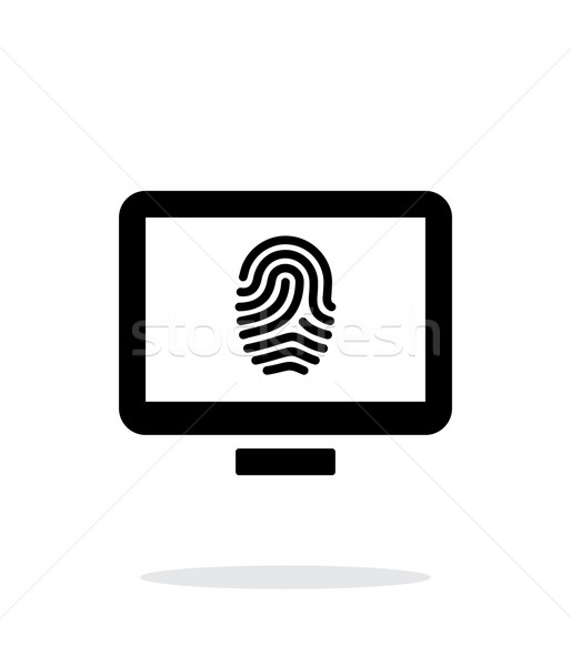 Desktop fingerprint icon on white background. Stock photo © tkacchuk